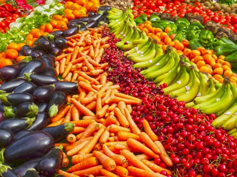 eye health with red yellow and orange fruit and vegetables