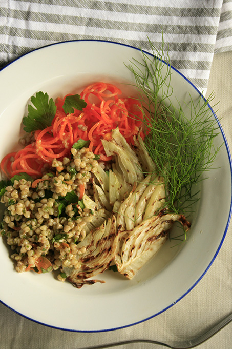 Buckwheat with fennel and carrot salad