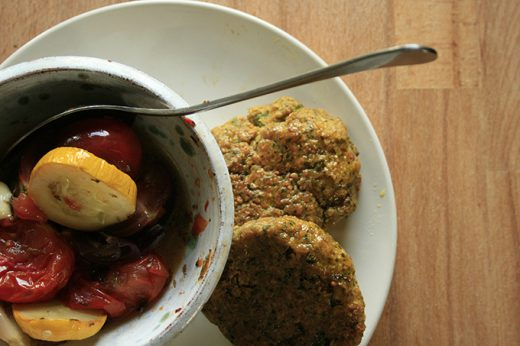 chickpea and cashew patties with ratatouille
