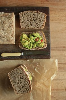 Spelt bread loaf with avocado