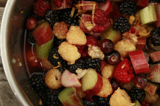 mixed berries being stewed
