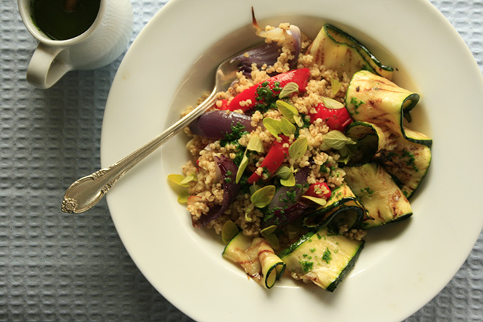 millet salad with courgette and roasted vegetables