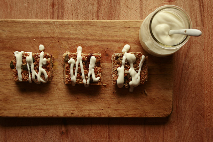 oat squares drizzled with yogurt