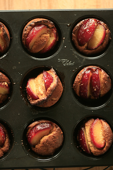 Plum cakes in a tray
