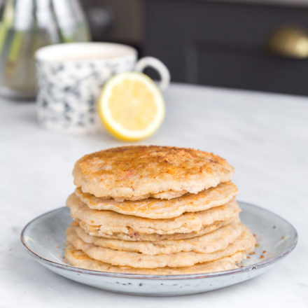 oat and medicinal mushroom pancakes on a plate