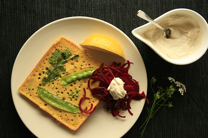 socca with beetroot and tahini dressing