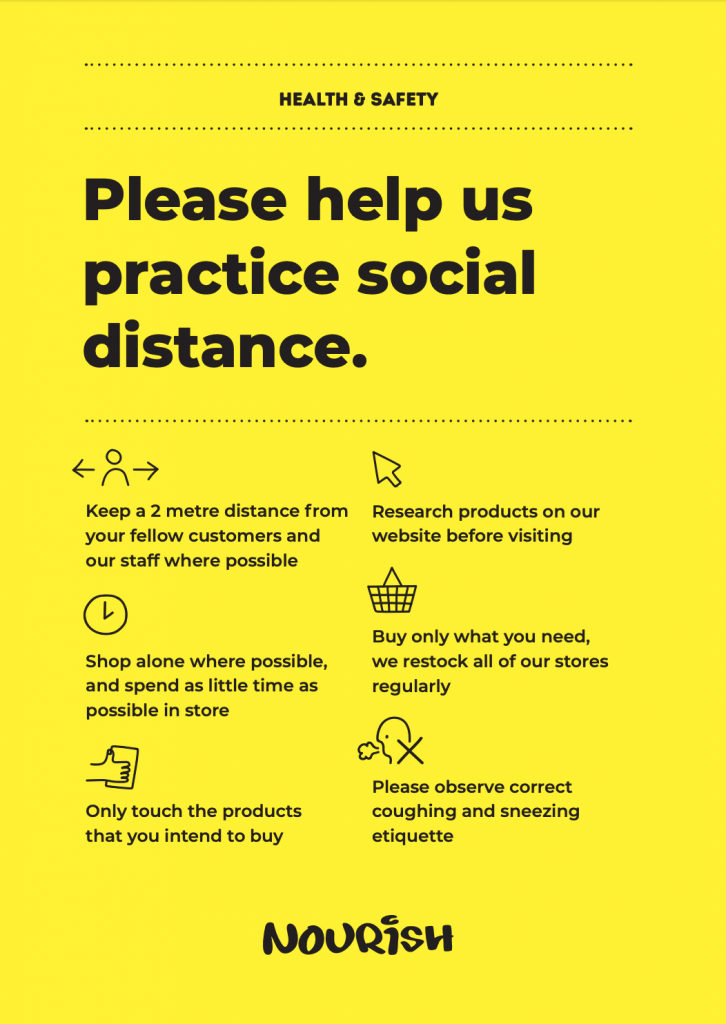 Nourish Social Distancing Guidelines Poster