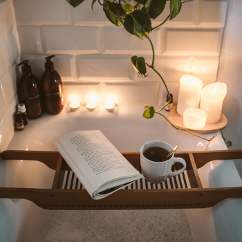 bath set up with candles and tea
