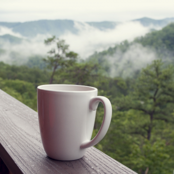 mug with mountains in the background