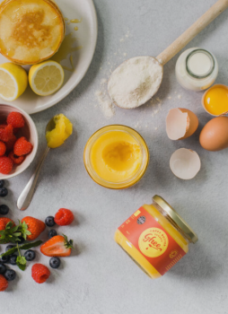 happy butter ghee with pancake ingredients and fruit